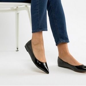 Shoes - Black Patent Pointy Toe Ballet Flats